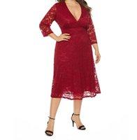 Party Dresses Plus Size Design Fashionable Full Sleeve Sexy Deep V-Neck Tea Length Sheath Lace Evening Dress Prom