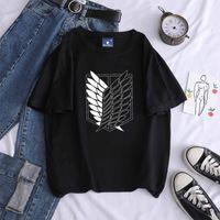 Женщины летом с коротким рукавом свободные футболки Kawaii мультфильм атака на титан логотип печати футболки шаблон случайные графика o шеи топы