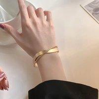 Matte minimalist Mobius Cuff bracelets female hand jewelry gold net red high-end sense bracelet light luxury ins niche