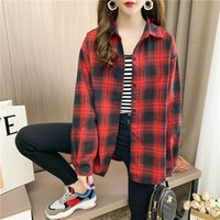 Plus Size Blouse Women Casual Long Sleeve Red Khaki Women's Shirt Harajuku Tops Female Plaid Shirts Korean Fashion Apparel Soft Blouses &