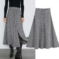 Skirts FOLOBE Elegant Retro Tweed Houndstooth High Waist A-line Midi Skirt Faldas Mujer Moda 2021 Long Women's Dress On