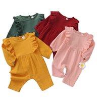 Baby Ruffled Rompers toddler infants Cotton Linen Jumpsuits Bodysuits long sleeve Babies Jumpsuit Clothes M3845