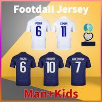 فرنسا Home Away Soccer Jersey 20 21 MBAPPE POGBA GIROUD KANTE GRIEZMANN كرة القدم قميص الرجال بلايز + أطفال طقم موحدة