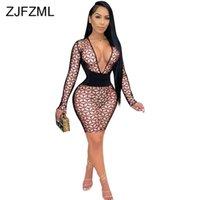 Geometric Pattern Office Lady Pencil Mini Dress Fall Women Clothing Fashion Streetwear Deep V Neck Long Sleeve Birthday Dresses 210508
