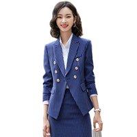 Women's Two Piece Pants 2021 Business Uniform Suit Women Blazer Set Autumn Winter Office Lady Work Wear 2 Sets Fashion Striped Design XL