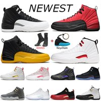 Nike Air Jordan Retro 12  jumpman رخيصة أحذية كرة السلة 12 12S الرجال عالية الحرير الذهب الجامعةالأردنحجر الرجعية منصة الزرقاء الرجال المدربين أحذية رياضية الرياضة