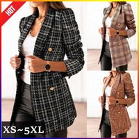 Women's Suits & Blazers TBYL Women Fashion Tweed Double Breasted Blazer Coat Vintage Notched Collar Long Sleeve Flap Pockets Female Outerwea