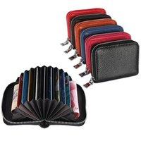 Card Holders 1 Pc Men Business Holder Genuine Leather Women Zipper Pocket Unisex Case Coin Purse