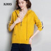 Women's Jackets XJXKS Fashion Hooded Women Jacket 2021 Autumn Winter Wool Knitted Zipper Cardigan Sweater Coat