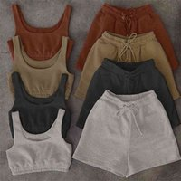 Women Solid Sportswear Two Piece Sets Women 2021 Crop Top And Drawstring Shorts Matching Set Summer Athleisure Outfits