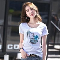 Women's T-Shirt 2021 Handmade Shoes Pattern Nail Drill Boutique Round Neck Short Sleeve 2809