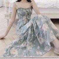 Летний спагетти ремешок шифоновое платье женщин без рукавов винтаж французский стиль A-line длинная Корея шикарный свободный тонкая одежда повседневные платья