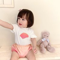 Cute baby girls sets summer infant girl cotton t shirt with shorts 2pcs suits Fashion shell printing kids clothes