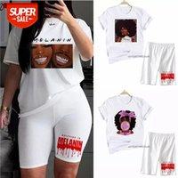 T-shirt Preto Africano Africano Curly Cabelo Menina Dois Pedaço Vogue Mulheres Dos Desenhos Animados Tops Casuais Streetwear Engraçado Melanin Sexy Terno calças Tees Peça # WN5Q