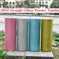20oz Straight Skinny Glitter Powder Tumbler Stainless Steel Tumblers Double Wall Vacuum Insulated Cups Water Bottle Drinking Cup By FedEx A14