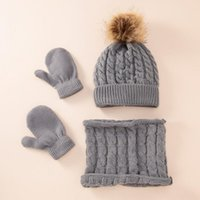 Caps & Hats Melario Baby Kids Girls Boys Winter Warm Knit Hat Ear Solid Scarf Glove 3pcs Cute Beanie Cap Born Pography Outfit