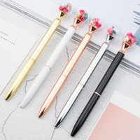 Ballpoint Pens 10pcs Create Dried Flower Black Ink Metal Ball For Girls Gift School Office Supplies Novelty Stationery