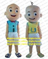 Naughty Upin Ipin Bald Child Monk Mascotte Costume Adulte Taille adulte avec Vest Bleu Vest Yellow Manteau rouge Cravate rouge Pantalon blanc No.4797 Libre expédier