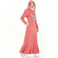 Djelaba Femme Pink Hijab Мусульманское платье Абая Турецкие платья Ислам Одежда Abayas для женщин CAFTAN MOROCCAN KAFTAN HOBE DUBAI