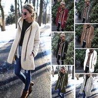 Jaquetas Femininas 2021 Mulheres Casaco Outono e Inverno Terry Velvet Fashion Fashion Colarinho Botão Do Zíper Casaco Quente Fêmea W897
