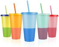 24oz renk değişen bardak saman seti ile soğuk içecek fincan renk değişikliği sugutler kapak yaz buzlu kahve drinkware