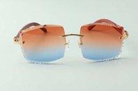 2021 Newest Style Diseñadores de alta gama Gafas de sol 3524022, Lente de corte de alta calidad Tigre natural Tigre Templos de madera Vidrios, Tamaño: 58-18-135mm
