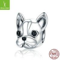 Bamoer 925 Sterling Silver Loyal Partners Franse Bulldog Doggy Animal Beads Fit Women Charm Armbanden Hond DIY Sieraden SCC315 2030 Q2
