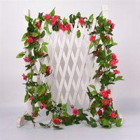 2.2M Flor Artificial Videira Falsa De Seda Rosa Flor de Ivy para Casamento Decoração Videiras Artificiais Pendurando Garland Home Decor 423 v2
