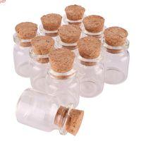 100pcs 22*30*12.5mm 5ml Mini Glass Perfume Spice Bottles Tiny Jars Vials With Cork Stopper pendant crafts wedding gifthigh qty