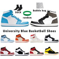Hyper Royal University Blue 1 1S Hommes Basketball Chaussures 4 4S Voile Obsidian Unc Silver Toe Black Cat Bred Pure Money Starfish Feu Red Hommes Sports Femmes Sneakers Formateurs
