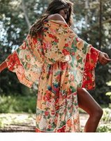 Women Sexy Floral Printed Summer Beach Wear Long Kimono Cardigan Blouses Shirts Tunic Plus Size Beachwear Tops Beach Bikini Blouse Cover-Ups