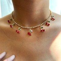 Bynouck Новая роскошная красная вишня хрустальная теннисная цепь женские ожерелье очарование милые кулон ожерелья женщин горный хрусталь ювелирных изделий подарок