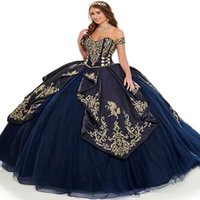 Elegant Mexican Navy Blue Embroidery Quinceanera Dresses 2022 Corset Lace Up Sweet 16 Dress Ball Gown Prom Party Wear Vestidos De 15 Años Robe Mariée