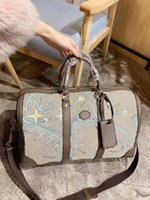 Ente Print Duffle Hand Gepäck Reisetasche mit Dunks Gedruckt Cartoon Handtasche Designer Unisex Duftsack Taschen Handtaschen Beige Leinwand Leder Tote Boston