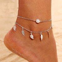 2 farbe Multilayer Blätter Anhänger Fußkettchen Sommer Strand Fußkette Böhmischen handgefertigte Perlen Fußklets Fuß Gothic Boho Schmuck