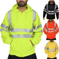 Men's Jackets Luminous Coat Mens Work High VisibilityPullover Long Sleeve Hooded Sweatshirt Tops Blouse Reflective