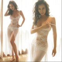 White Lingerie Sexy Dress Women Sleepwear See Through Lace Hollow Night Wear Ladies Nightwear Underwear