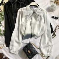 Gagarich mulheres chiffon blusas moda arco lace up lanterna manga comprida senhoras tops sólidos primavera outono fada elegante camisa femme 201202