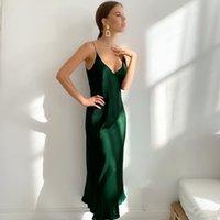 Mulheres de verão vestido cetim sem mangas espaguete pulseira em linha reta luxo luxo brilhante vestido de seda sexy vestido verde francês 210521