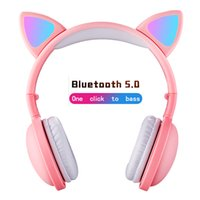 Cat Ear LED Headphones Noise-Cancelling bluetooth earphone Kids Girls and Boys Folding Headset Support TF Card With Mic headset