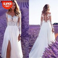 [in stock]European and American women's long-sleeved see-through lace wedding dress bridesmaid split long skirt #TB3c