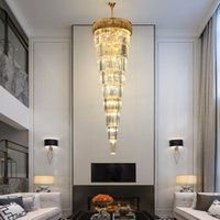 WETOGE stair chandelier diameter 60cm 80cm 100cm  crystal lights contemporary high ceiling long led pendant lamp for villa hotel duplex decoration
