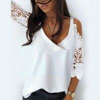 Women's Blouses & Shirts All Match Spaghetti Strap Sleeve Lace Blouse Sexy V-neck Spring Patchwork Office Fashion Lady Top Blusas Cortas