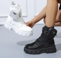Mujer Glossy Plus Size Botas de bolsillo Correa de bolsillo con estilo de personalidad brillante Chunky Lace Up tobillo para las mujeres Otoño Redondo Toe Combat Blanco Plataforma