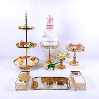 Other Event & Party Supplies 6-10pcs Crystal Cake Stand Set Metal Mirror Cupcake Decorations Dessert Pedestal Wedding Display Tray