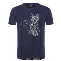ccccsportgeometric الثعلب t-shirt الحد الأدنى الحيوان مجردة خط الزى 2018 جديد الكرتون فوكس عارضة القمصان أعلى جودة الشباب القطن