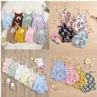 Free DHL 30+ INS Baby Kids Girls Rompers Sleeveless Printing Straps Summer Newborn Jumpsuits Climb Cloths Bodysuits