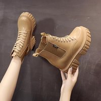 Boots Lady Rock Shoes Woman Luxury Designer Winter Footwear Round Toe Boots-Women Lace Up Fashion 2021 Leather Ankle Autumn High