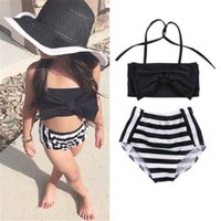 One-Pieces 0-4 Years Baby Girls Bikini Set 2021 Summer Black Striped Bow Swimsuits For Holiday Beach Swimming Suits Infant