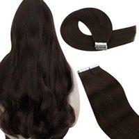 Tape UGeat dans les extensions de cheveux Couleur brun foncé n ° 2 Ruban de Remy Human Hair Extensions à double face Hair 2.5g / Pieces